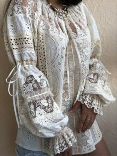 Татьяна(ателье ) Авилочкина Козлова - Posts | OK White Fashion, Boho Fashion, Vintage Fashion, Victorian Shirt, Romantic Outfit, Lace Outfit, Denim And Lace, Embroidery Fashion, Blouse Vintage