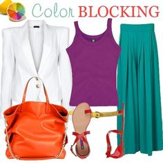 White, Orange, Purple, Teal Outfit         color blocking