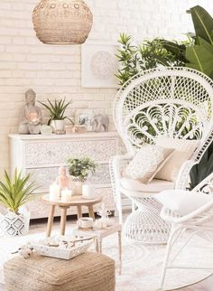 Home Decoration For Living Room 8556762243 Look Wallpaper, Living Room Decor, Bedroom Decor, Zen Living Rooms, Bedroom Ideas, Dining Room, Wall Decor, Rattan Armchair, Deco Boheme