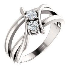 Platinum 1/4 Carat Diamond Two Stone Solitaire Ring - DaVinci Emporium