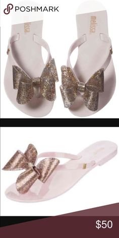 Melissa Flip flops Pink and white with silver and pink glitter bows Melissa Shoes Sandals & Flip Flops