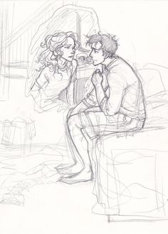 """""""burdge: i was sorting through some of my old sketchbooks and found this incomplete sketch. i always had this idea of Percy and Annabeth """"Iris Messaging"""" each other while they were apart…"""" It's like a deleted scene from burdge! Percy Jackson Fan Art, Percy Jackson Fandom, Burdge Bug, Desenhos Harry Potter, Cute Couple Drawings, Percy And Annabeth, Rick Riordan Books, Wow Art, Percabeth"""