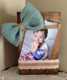 wood photo holder,shabby chic, burlap bow, blue, distressed, rustic picture frame, twine, country, rustic wedding, baby gift, lace, ribbon by Justasmalltowngirlx2 on Etsy
