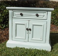 The 100 Block taking an old brown end table into something pretty and updated. Love this color.