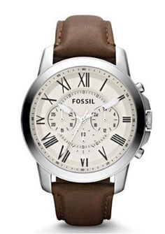 Klassisk herreur med romertal - Fossil Grant Fossil Watch with Roman numerals and brown leather strap - Very masculine watch Bracelet Cuir, Fossil Jewelry, Fossil Watches For Men, Cool Watches, Men's Watches, Casual Watches, Ladies Watches, Men Watches, Sport Watches