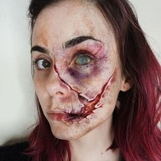 Special effects makeup by Zombie Makeup, Scary Makeup, Sfx Makeup, Cosplay Makeup, Costume Makeup, Makeup Art, Zombies, Halloween Kostüm, Halloween Face Makeup