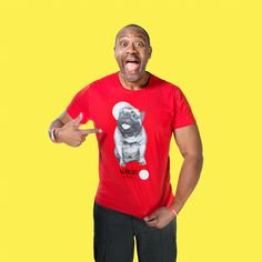 Red, adult, unisex T-shirt featuring Albert the French bulldog in a baseball cap and created exclusively for Red Nose Day by renowned fashion and portrait photographer, Rankin.