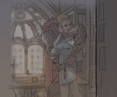 """sanshodelaine:  """" rough animation test. never animated a kissing scene before and i was curious, so here it is (reupload because the gif didn't work the first time)  used my cullenxinquisitor sketches as reference  """""""