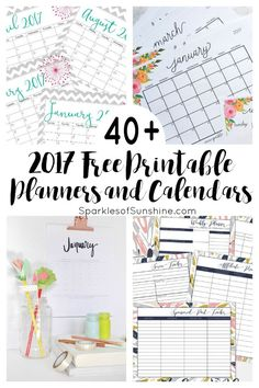 Want to organize your life for FREE? Check out this collection of over 40 awesome free printable 2017 calendars and planners. Get the details at Sparkles of Sunshine today.