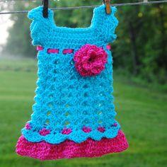 Hot Pink Teal Baby Dress Newborn Outfit Infant Girl Flower Headband Shower gift Photo prop Easter Christening Baptism Wedding Dedication