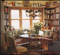 Super ideas home library seating wall colors Built In Seating, Home Libraries, Cozy Room, Cozy House, Cozy Cottage, My Dream Home, Living Spaces, Family Room, Sweet Home