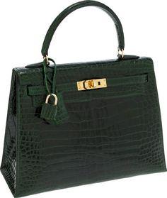 8315cb368902 Hermes 30cm Shiny Vert Veronese Nilo Crocodile Birkin Bag with Gold Hardware  T