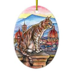 Cat in Florence Ceramic Ornament - animal gift ideas animals and pets diy customize