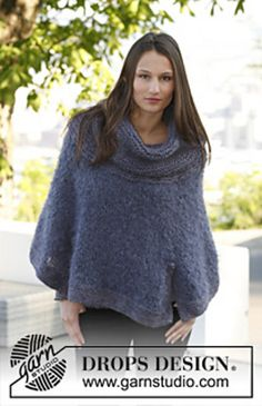 Ravelry: 143-30 Moon River - Poncho in Vienna and Eskimo pattern by DROPS design