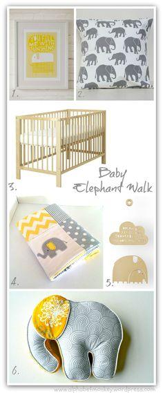 Yellow and Grey elephant nursery board by alphabetmonkey.wordpress.com