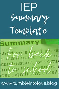 I use this IEP summary template for both of my kids when they have a new teacher.  It's a great 'at-a-glance' summary to introduce your child to a new teacher.