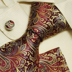 Y&G Men's Fashion Luxury Gift Multi-colored Paisleys Silk Tie Cufflinks Hanky Set for Mens Tie And Pocket Square, Pocket Squares, Mens Casual Suits, Ties That Bind, Cufflink Set, You Look Beautiful, Godly Man, Suit And Tie, Well Dressed Men