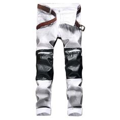 White Denim Jeans with Leather Patchwork