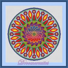 Mandala Flower Power - digital crossstitch embroidery pattern in pdf - 189 x 189 cross stitches - 35 x 35 cm or 12,5 x 12,5 inches - created by Droomcreaties Design & Foto Studio (www.droomcreaties.nl)
