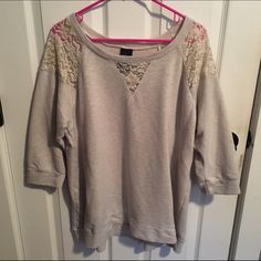 Cream laced sweater Has lace on the shoulders, front and back and a little bit on the front, very comfortable and cute with leggings! Worn a couple times! Faded Glory Sweaters Crew & Scoop Necks