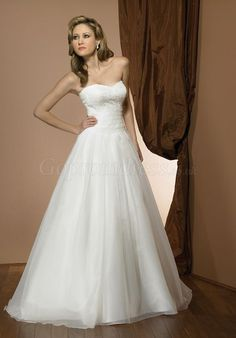 organza Strapless empire chapel train white wedding dress