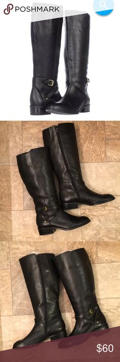 Ralph Lauren Black Leather Heeled Moto Boots Boho Gorgeous - worn only 1 x inside . Lite wear from storage. Lauren Ralph Lauren Shoes Heeled Boots