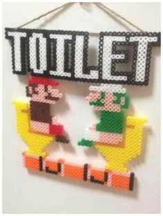 Super Mario and Luigi Bathroom WC Toilet Sign Perler Bead Pattern Fuse Bead Patterns, Beading Patterns, Fuse Beads, Perler Beads, Pixel Art, Bead Crafts, Diy And Crafts, Wc Sign, Super Mario And Luigi