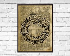Aztec Uroboros old poster, Symbolic Maya wall decor, dictionary print, Nasca dragon print, ancient b Old Poster, Sacred Meaning, Book Page Art, How To Age Paper, Dragon Print, Moon Print, Printed Pages, Home Wall Decor, Antique Prints