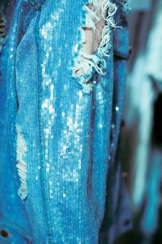 Blue | ASHISH SS14 - frayed and sequins