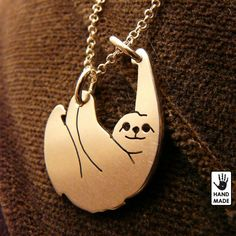 Slow Living SLOTH Solid Sterling Silver .925 Pendant by StefanoArt on Etsy