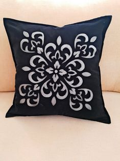 Items similar to Black Suede Velvet Hand Painted Throw Pillow Cover Decorative Cushion Silver Damask Design Inches mandala painting on Etsy Throw Pillow Covers, Throw Pillows, Mandala Painting, Summer Scarves, Decorative Cushions, Dream Rooms, Pillow Inserts, Damask, Black Suede