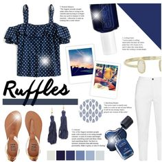 Ruffled Tops by littledesigns on Polyvore featuring polyvore, fashion, style, J.Crew, Zhenzi, Billabong, Kenneth Jay Lane, Kendra Scott, Essie and clothing