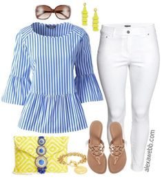 Plus Size Striped Peplum Top Outfit - Plus Size Spring Outfit Idea - Plus Size Fashion for Women - alexawebb.com #alexawebb