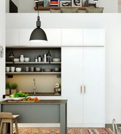 possible kitchen idea - sink in middle of cubpboard run? Kitchen Dining, Kitchen Cabinets, Decor, Furniture, House, Kitchen, Home, Dining, Home Decor