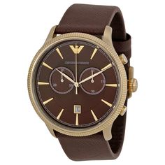 Emporio Armani AR1793 Classic Chronograph Brown Dial Brown Leather Men's Watch 723763216616 | eBay