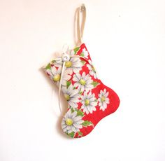 Mini stocking ornament from vintage hanky and linen
