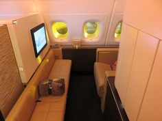 A rear facing seat in our First Class Apartment on board our A380s