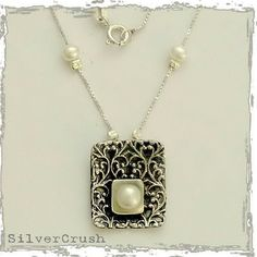 Lace simple sterling silver pendant, pearls on chain, square pendant, filigree pendant, filigree square pendant- Pretty as a Picture N4534-1