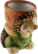 Hedgehog In Green Dungarees - Novelty Plant Planter Pot Garden Ornament