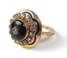 Victorian Mourning Gold Ring Jet & Paste by WickedCrafts on Etsy