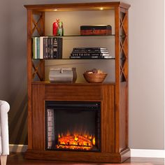 Red Barrel Studio Sea Dog Oak Saddle Curio Tower Electric Fireplace