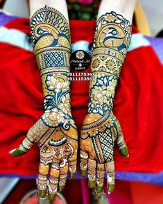 A full-hand mehndi design as this one is PERFECT for weddings. The extravagant motifs and intricate designs are symbolic of feminine beauty, purity, and wellness. For more design visit our website or fb page. Peacock Mehndi Designs, Full Hand Mehndi Designs, Mehndi Designs For Girls, Indian Mehndi Designs, Stylish Mehndi Designs, Mehndi Design Photos, Wedding Mehndi Designs, Mehndi Images, Wedding Henna