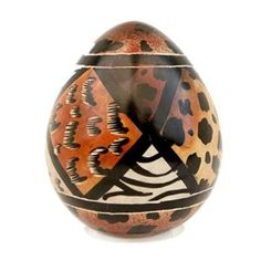 JP: Animal Print Design Stone Egg Sculpture African Art