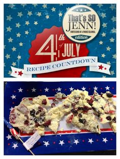 That's SO Jenn's July 4th Countdown: Red, White and Blue Dessert Bark. Easy and fun to make!