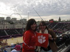 Caitlin Knight and Kate Gasparo traveled to the London 2012 Olympics to perform with the Clemson Symphonic Band, and stopped by Horse Guard's Parade for some beach volleyball on the way.