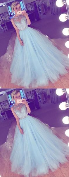 sky blue prom dress,long prom dress,tulle prom dress,A-line prom dress,cheap prom gown,beading prom dresses M2190