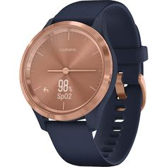 Love your look with the Rose Gold Stainless Steel Bezel with Navy Case and Silicone Band Garmin vívomove Hybrid Smartwatch. This 39 mm hybrid smartwatch combines classic analog styles Emporio Armani, Smartphone Gps, Skagen, Watch Faces, Smart Watch, Cool Things To Buy, Rose Gold, Watches, Accessories