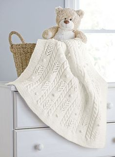 Cables and Bobbles Blanket - Aran Irish Tweed - This place winner is designed by Izabella Tichy. A soft and snuggly blanket for your baby. Shown in Aran Irish Twist. Knitted Afghans, Knitted Baby Blankets, Baby Afghans, Baby Blanket Crochet, Afghan Patterns, Baby Knitting Patterns, Knitting Stitches, Baby Patterns, Crochet Patterns