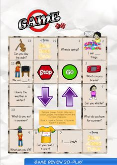 Game Board 20  Contents-Game Review booklet and theme flashcards.  Contains Everyday English, game review, grammar summary and worksheets.  Everyday English: When is winter? What do you have, Bella? These are my ice skates for winter. When is winter? It is in December, January and February.  Theme: At a Party Verbs pass, break, get, count, hold, wave, whistle, juggle.    Grammar: Can  I can break a robot. I can't break a pillow.  What can you break?  Can you count the mittens?
