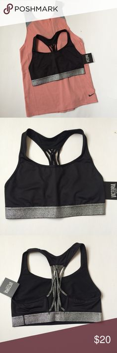 🆕(M) VS Strappy Sports Bra NWT Victoria's Secret The Player Racerback Sports Bra, size medium in Black with Silver Glitter Accent.  Provides medium support for sports and activities, lightweight and breathable material so you won't feel trapped.  Gorgeous strappy back and bottom band in sparkly silver glitter! Victoria's Secret Intimates & Sleepwear Bras
